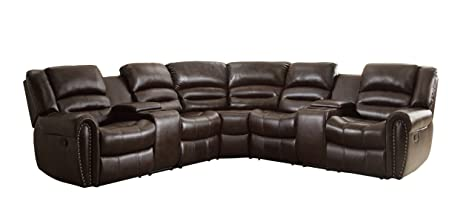 Homelegance 3 Piece Bonded Leather Sectional Reclining Nail Head Accent Sofa with 2 Cup Holders Console  sc 1 st  Amazon.com : leather sectional with recliners - Sectionals, Sofas & Couches