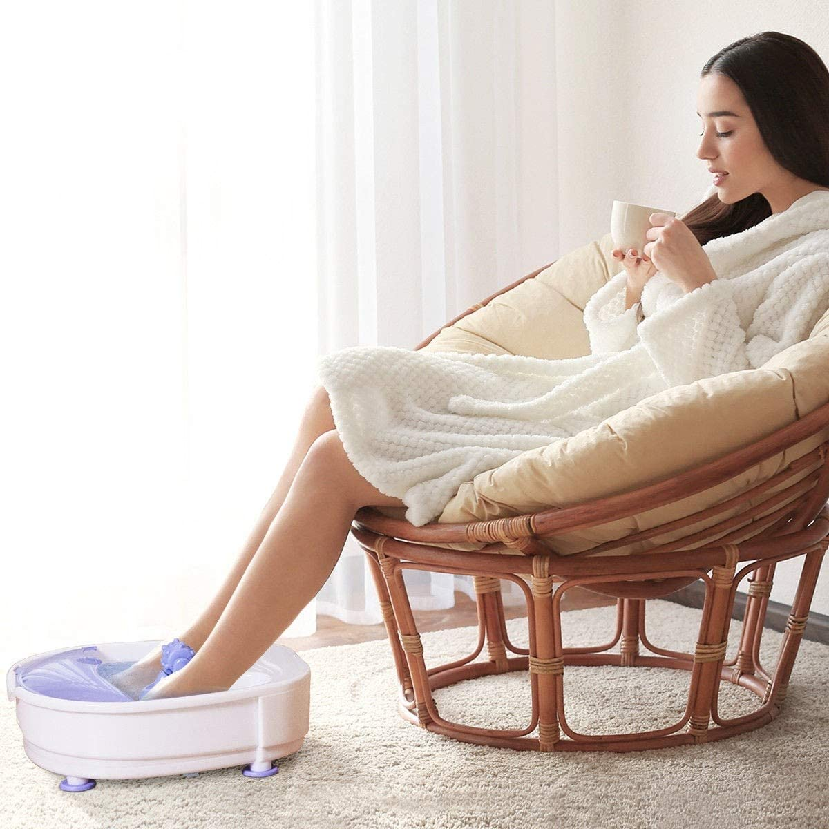 Safeplus Electrical Foot Basin Portable Foot Spa Massager with Heating Bubbles Point Massage