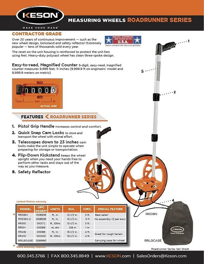 Keson RR318N Contractor Grade Measuring Wheel (Graduations