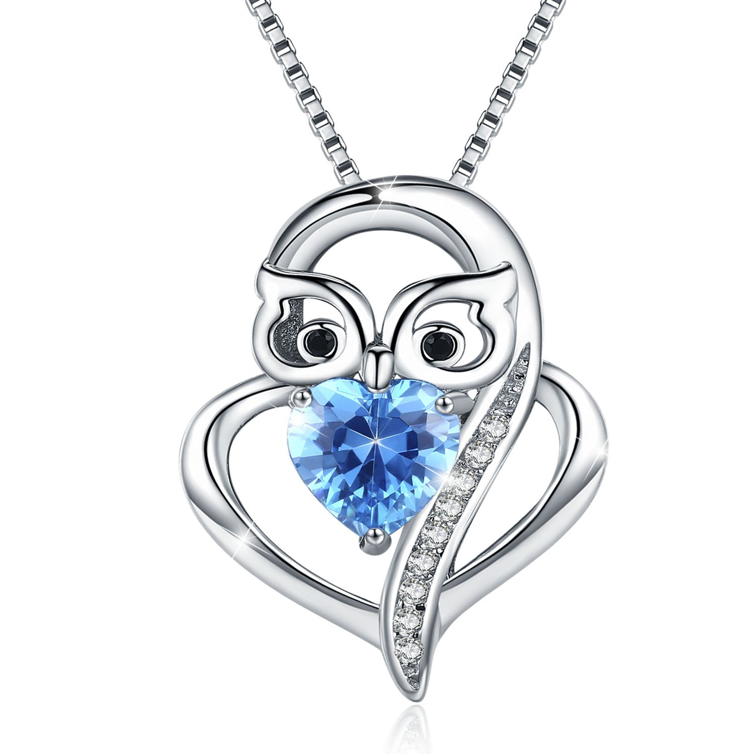 eb9a351153010 cuoka Sterling S925 Silver Blue Love Heart with Owl Pendant ...