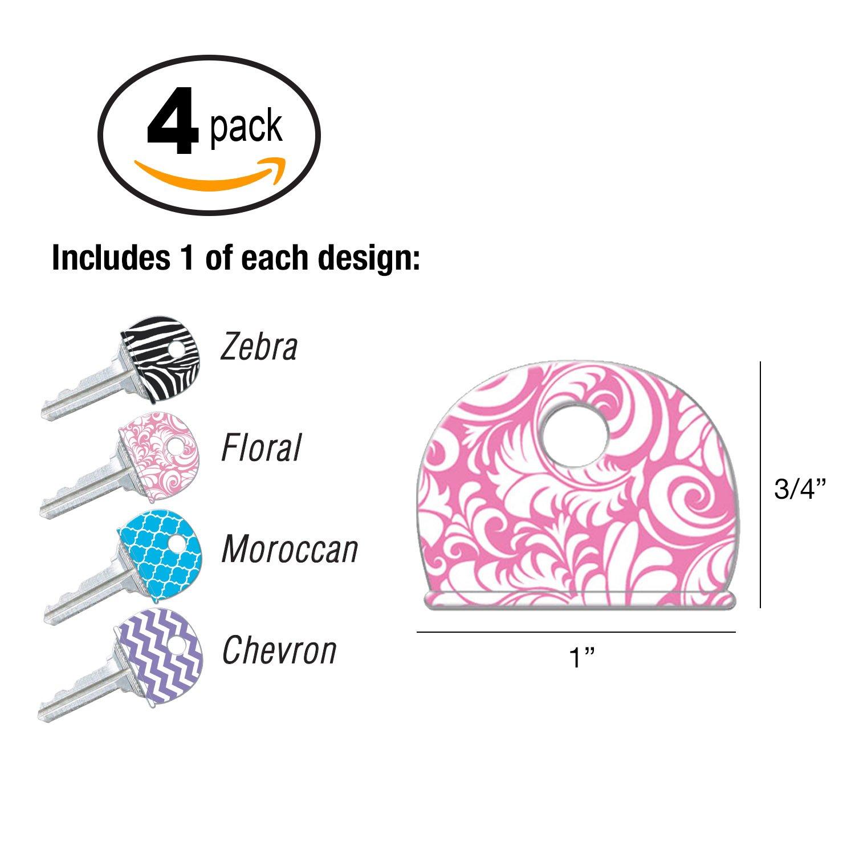 Lucky Line Designer Pattern Key Identifier Caps, 4 Pack (16304)