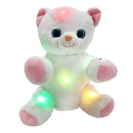 1a43afda1474 WEWILL Glow Cat Stuffed Animals LED Kitty Light Up Soft Toys with Colorful  Flash Lights Gift