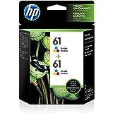 HP 61   2 Ink Cartridges   Tri-color   Works with HP DeskJet 1000 1500 2050 2500 3000 3500 Series, HP ENVY 4500 5500 Series,