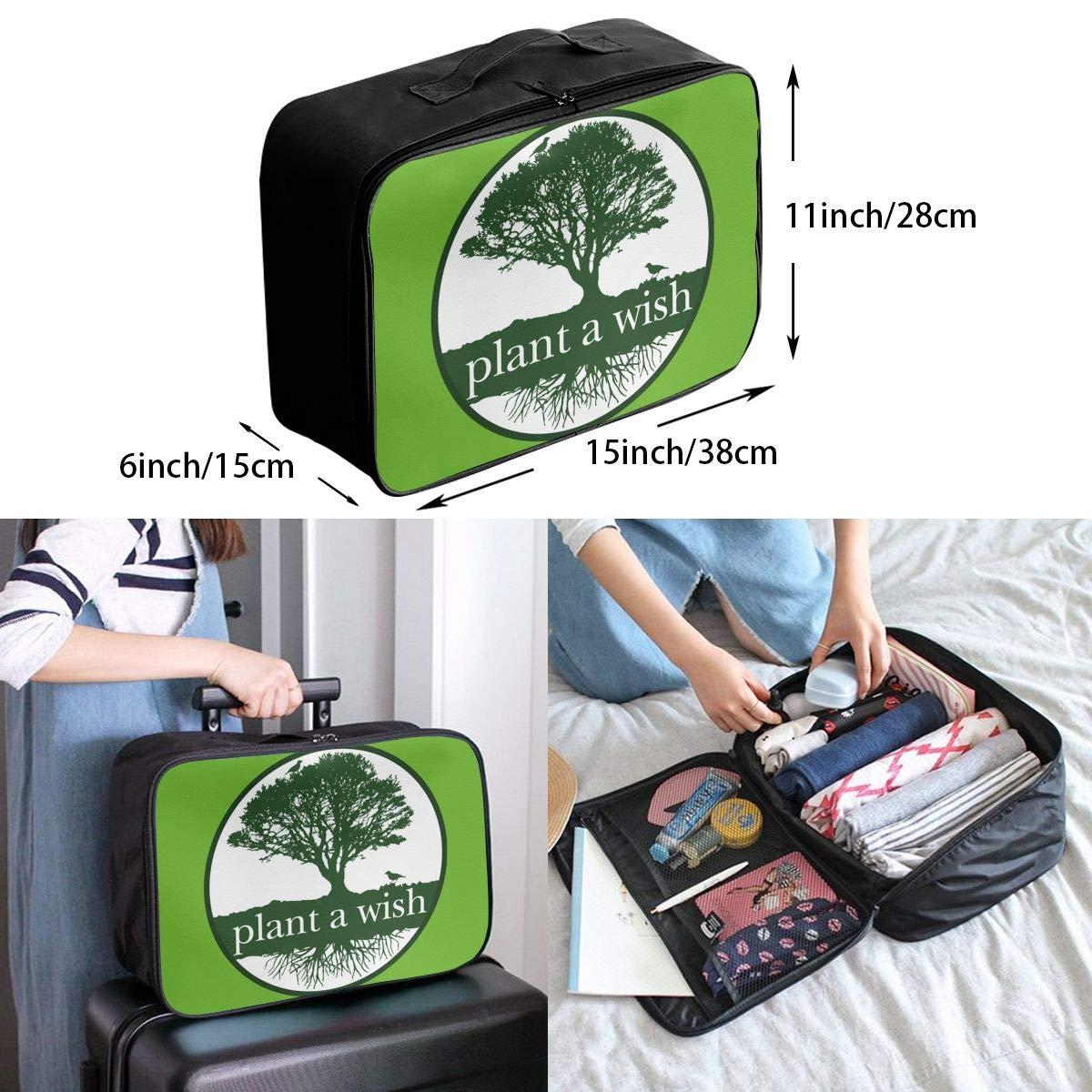 Travel Luggage Duffle Bag Lightweight Portable Handbag Plant A Wish Large Capacity Waterproof Foldable Storage Tote