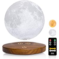Magnetic Levitating Moon Lamp DTOETKD Two Colors 3D Printing Moon Night Light Floating and Spinning in Air Freely with…