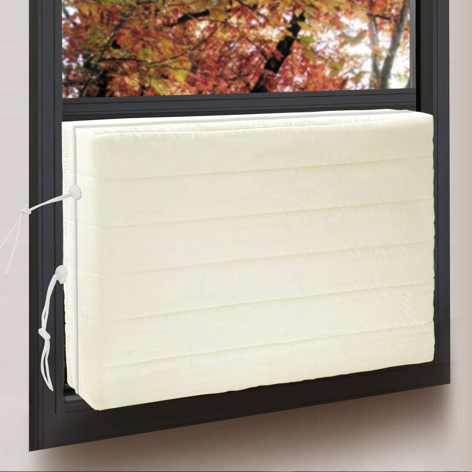 Gissvogeek Indoor Air Conditioner Cover For Window Units Window Ac Unit Cover For Inside L X H X D Double Insulation With Drawstring Xs Beige 17 X 13 X 3 Inches Tools