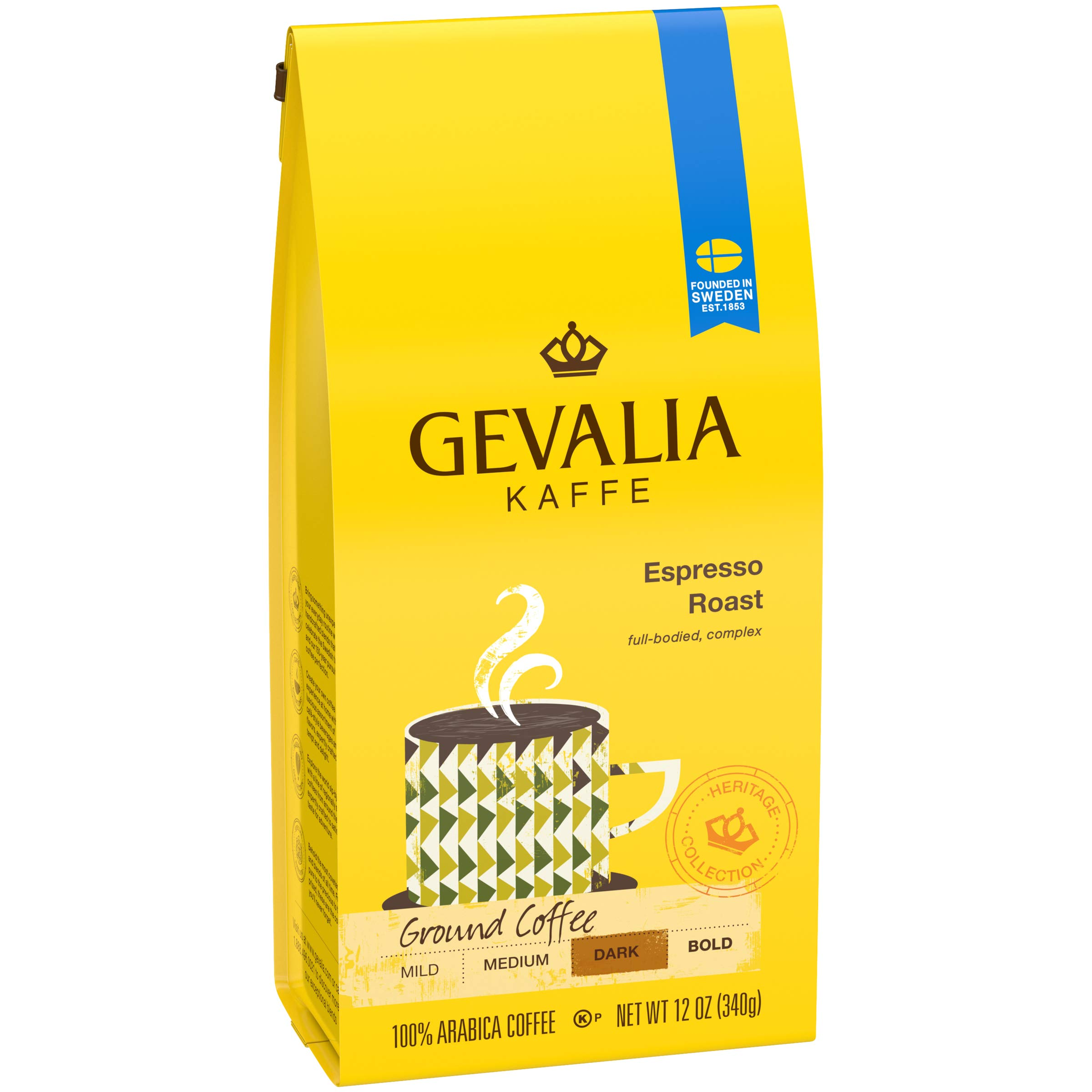 Gevalia Espresso Roast Ground Coffee (12 oz Bags, Pack of 6) by Gevalia