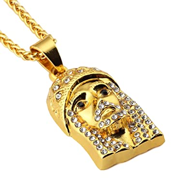 18k gold plated rhinestone iced out jesus piece jesus head pendant 18k gold plated rhinestone iced out jesus piece jesus head pendant necklace hip hop mens bling aloadofball Images