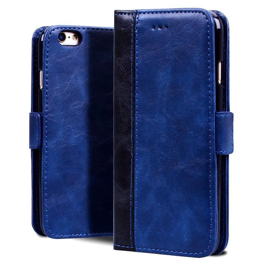 Sinjoro Coque iPhone 6S,Coque iPhone 6, [Carnet Style] Etui en Cuir PU Vintage avec Porte-Cartes et Housse Pliable Couvercle Rabattable de Protection Coque pour Apple iPhone 6S/ iPhone 6 4,7' (Bleu) 7 (Bleu) SINJO-SY-TP-I6-1106008
