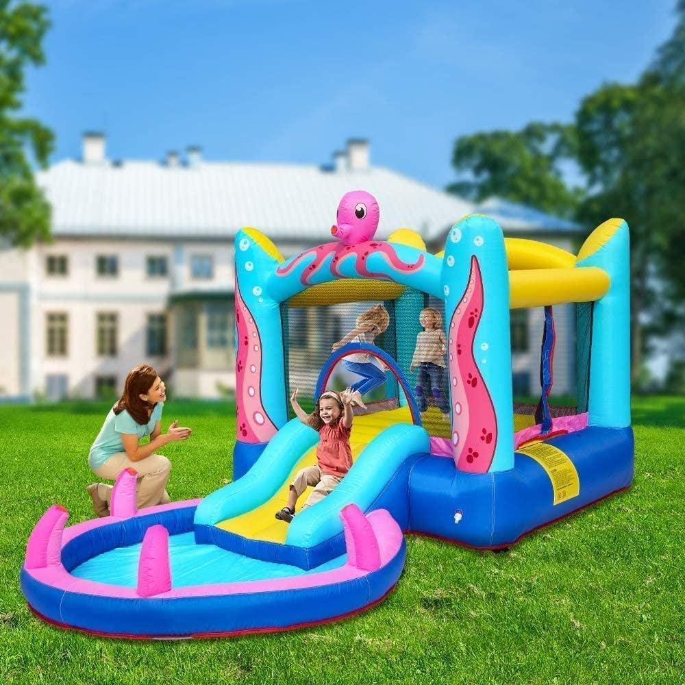 L.HPT Castillo Hinchable para niños Bounce House con soplador Casa de Salto Piscina de chapoteo Tobogán de Agua Casa de Juegos Interior/Exterior para niños Fiesta de Regalo Uptodate: Amazon.es: Hogar