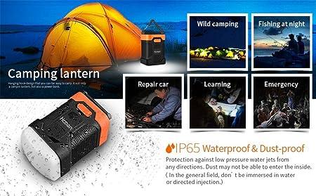 Hcman Linterna de camping recargable con utilidad de banco de energía de 10000 mAh, la lámpara de camping dispone de 200 lúmenes y con IP65 impermeable: ...