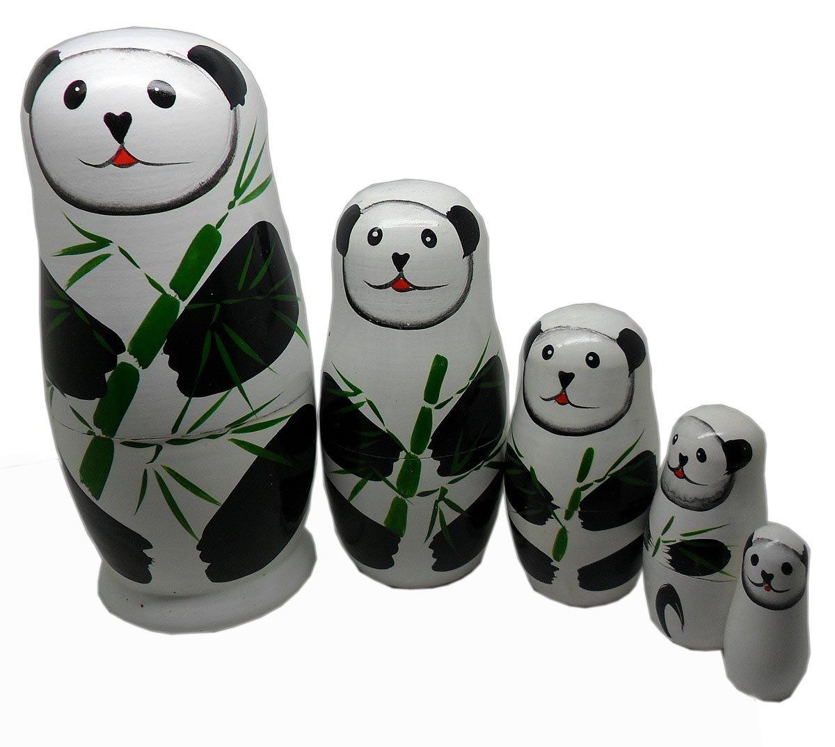 MOCHOAM Un insieme di 5 bambole di legno fatte a mano di incastramento Le bambole russe animali del rana animale gioca i regali domestici della decorazione