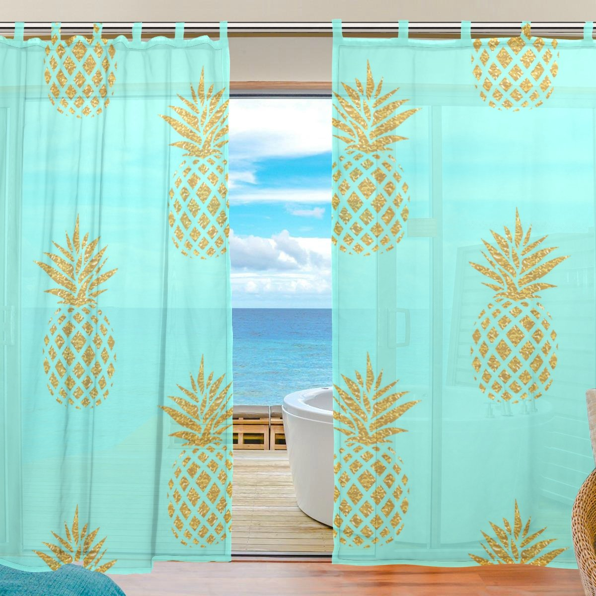 "La Random Tropical Fruit Pineapple Gold And Blue Window Sheer Voile Curtains for Living Room Bedroom Kids Room Curtains Polyester 55""Wx78""L Per Panel Set of 2 Panels"