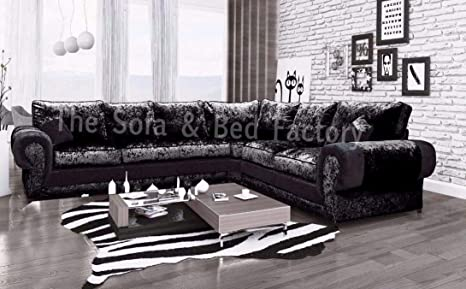 New High Quality Lara Large 6 Seater Crushed Velvet Corner ...