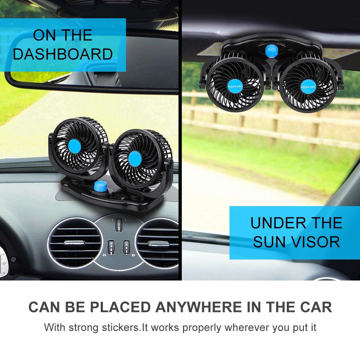 12V Ventola di raffreddamento portatile per auto Velocit/à di raffreddamento automatica silenziosa Mini accessori per lo styling per il raffreddamento