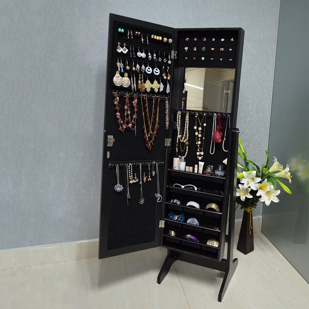 Organizedlife Black Free Standing Wall/Door-Mount Mirror Jewelry Armoire Cabinet For Dressing Room by Organizedlife (Image #5)