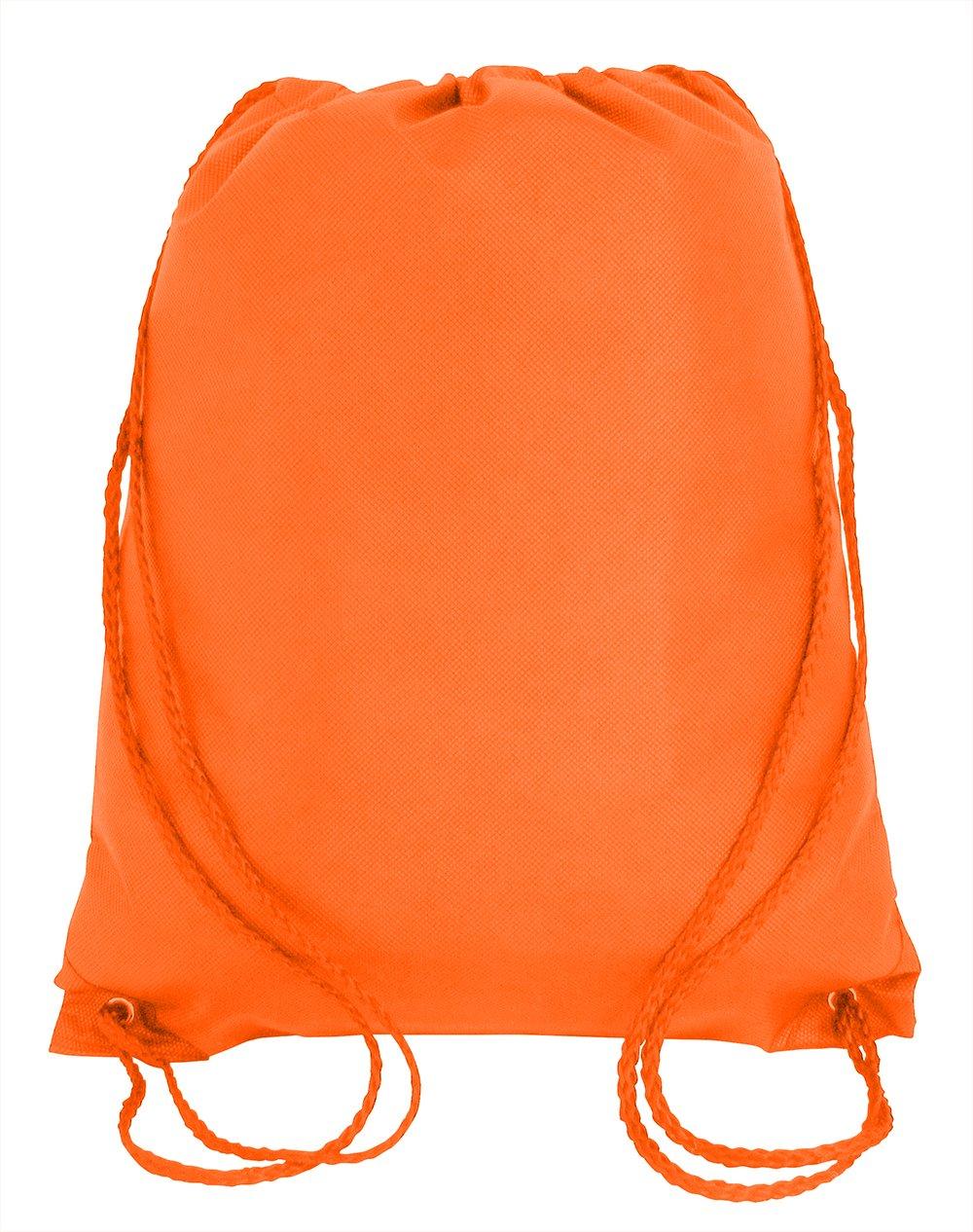 Bulk Drawstring Backpack Bags Sack Pack Cinch Tote Kids Sport Storage Bag for Gym Traveling (100, ORANGE)