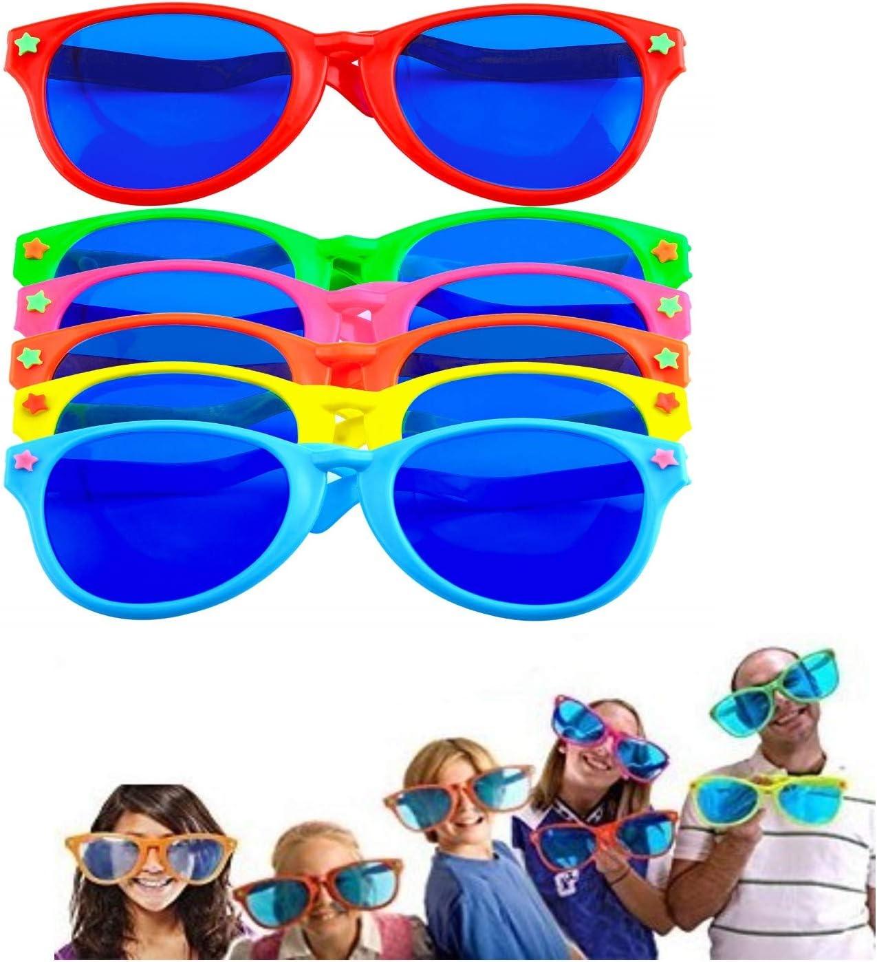 LATERN 6 Pièces Jumbo Lunettes De Soleil en Plastique Coloré Lunettes Jumbo pour Costume De Plage Déguisement Costume Photo Props Parti Fournitures