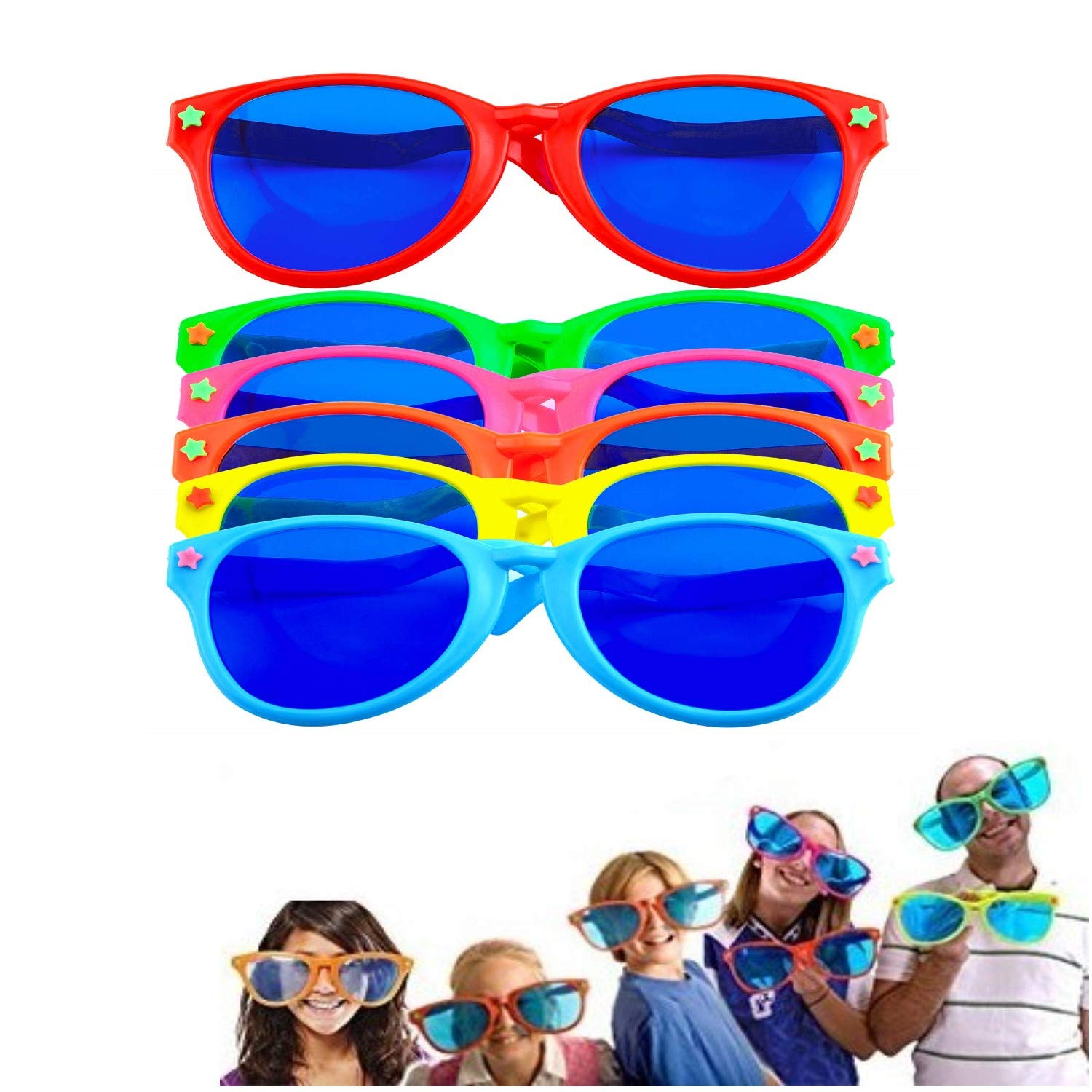 12 Pack Colourful Shutter Shades Glasses Party Fancy Dress Bright
