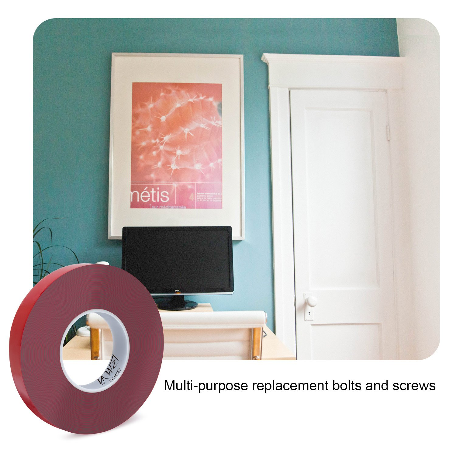 Double Sided Acrylic Heavy Duty Mounting Tape,1 Inch x 450 inch- 1mm Thickness.Removable,Gray,Tough Bonding Strength,Weatherproof