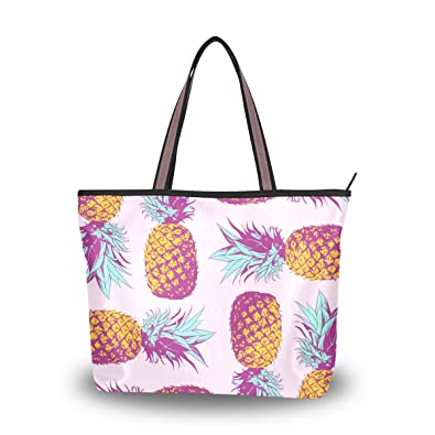 ac5bf11e3f ALAZA Summer Pink Pineapple Large Tote Top Handle Shoulder Bags Handbags  for Women Ladies
