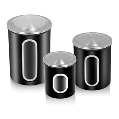 FC Airtight Window Kitchen Canister, Stainless Steel Canisters Sets with Fingerprint Resistance Lid, Set of 3 (Black)