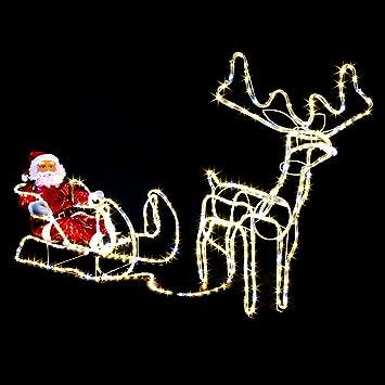 Weihnachtsbeleuchtung Xxl.Xxxl Led Magic Rentier Schlitten Xl Weihnachtsmann 210cm Lang 432