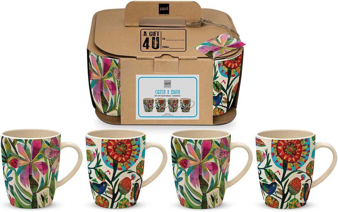 CasaJame Cocina Cuberter/ía Vajilla Mug Juegos x 4 Tazas Grandes en Bamb/ú Ecol/ógico para Caf/é T/é de Hierbas Motivo Frenes/í de Flores Multicolores