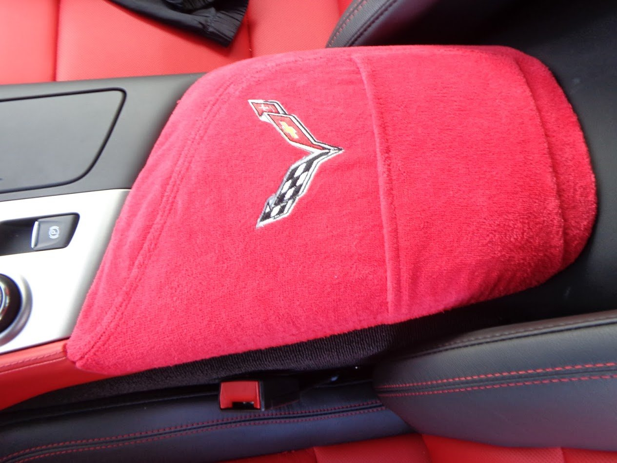 For Chevrolet Corvette Seat Belt Shoulder Covers Red Leather Corvette Embroidery