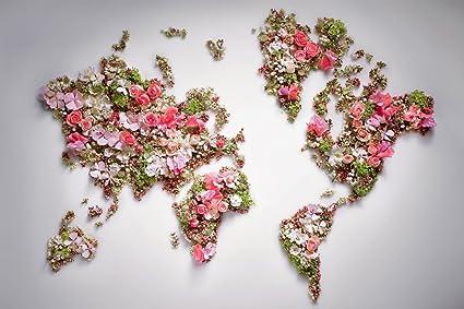 Amazon.com: Flowers World Map   Art Print Poster Wall Decor Home