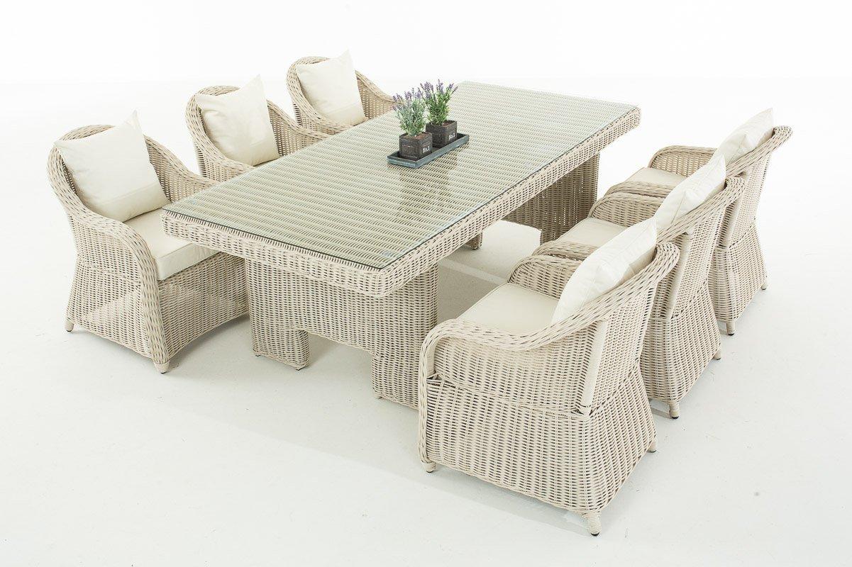 Mendler Garten-Garnitur CP065, Sitzgruppe Lounge-Garnitur, Poly-Rattan ~ Kissen cremeweiß, perlweiß