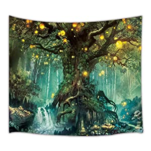 JAWO Fantasy Decor Tapestry Wall Hanging, Tree of Life and Waterfall with Elf, Polyester Fabric Wall Tapestry for Home Living Room Bedroom Dorm Decor 60W X 40L Inches