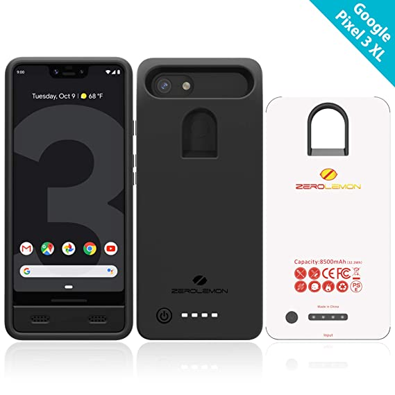 buy online 12c85 efc28 Google Pixel 3 XL Battery Charging Case, ZeroLemon Ultra Power 8500mAh  Extended Rechargeable Battery with Soft TPU Case for Google Pixel 3 XL -  Black