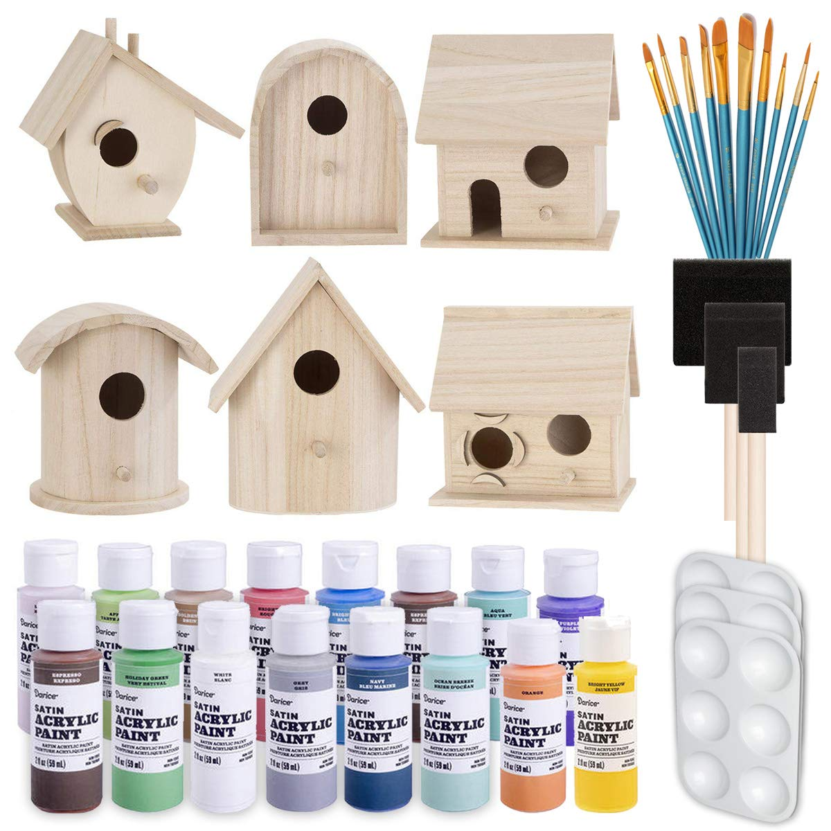 Birdhouse Craft Bundle - 6 Unfinished Wood Birdhouses (5-7 Inches), 16x 2-Ounce Acrylic Paints, Pixiss Nylon 10 Round and Pointed Brush Set, 3X Palettes by GrandProducts