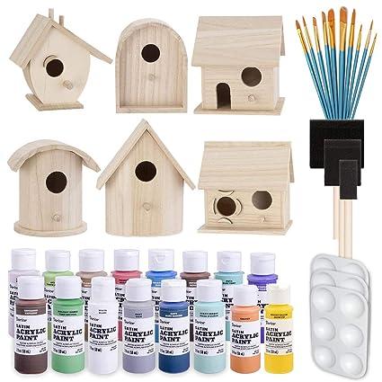 Birdhouse Craft Bundle 6 Unfinished Wood Birdhouses 5 7 Inches 16x 2 Ounce Acrylic Paints Pixiss Nylon 10 Round And Pointed Brush Set 3x