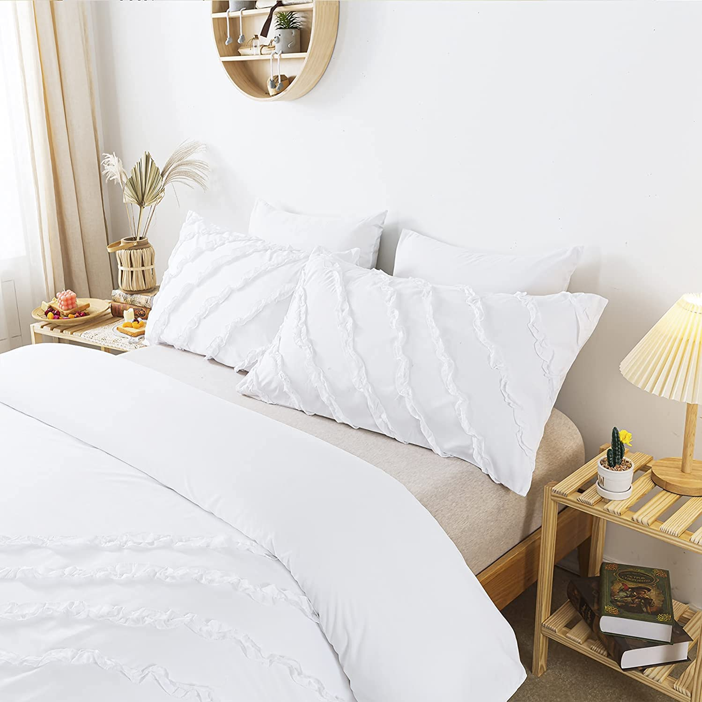 TEALP White Ruffle Duvet Cover Queen - Shabby Chic Bedding for Girl Women, Accent Shabby Chic All Season Comforter Cover, Ruffle Quilt Cover Set for Summer