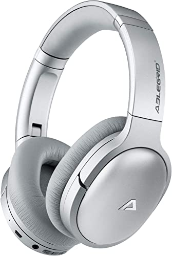 ABLEGRID QuietOdio 10 Active Noise Cancelling Headphones, Bluetooth 5.0 Over Ear Headphones with Deep Bass Mic Apt-X, Soft Protein Earpads, 40H Playtime for Travel Work PC Cellphones