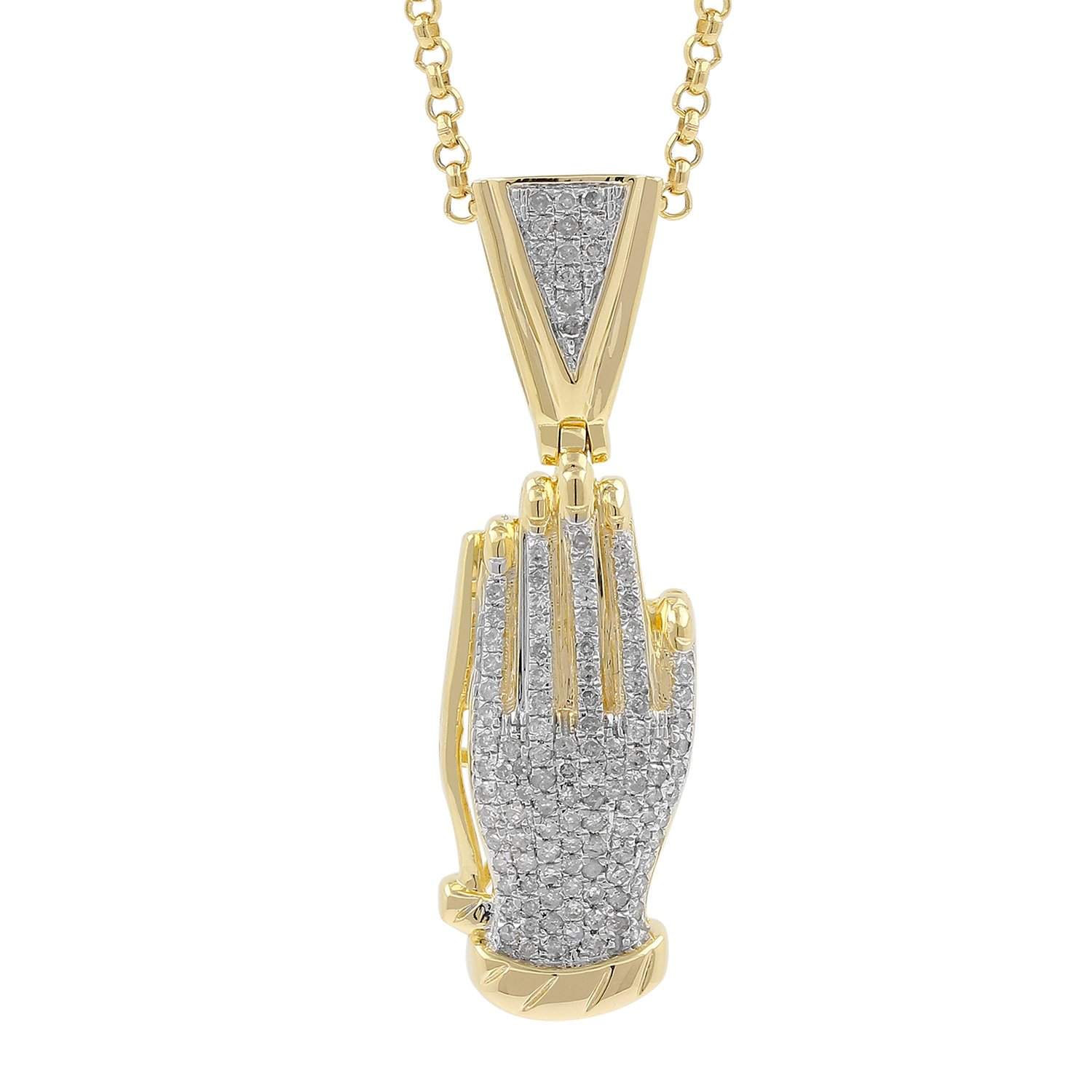 0.59ct Diamond Praying Hand Mens Hip Hop Pendant Necklace in Yellow Gold Over 925 Silver (I-J, I1-I2)