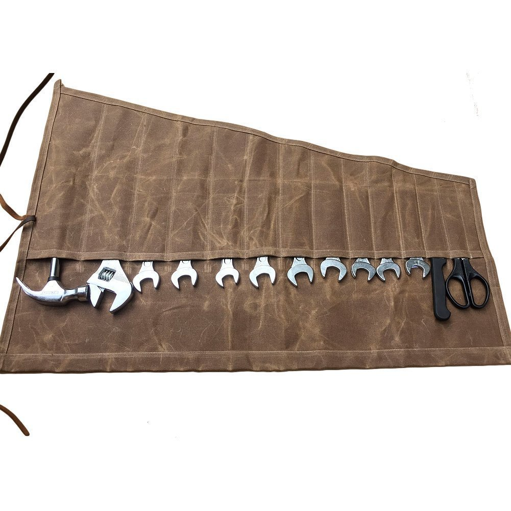 HUANGYUAN Wrench Roll Up Bag with 14 Slots Canvas Tool Bag Hand-cut and sewn,for craftsmen and women, DIY enthusiasts A185 (Freesize, Light brown)