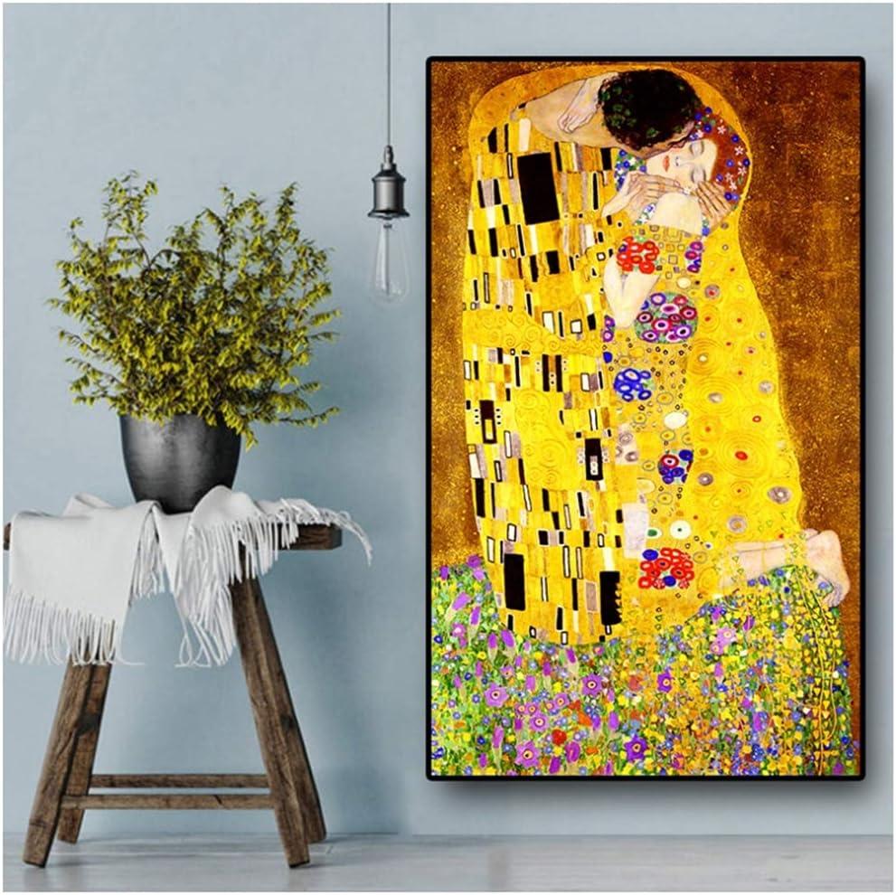 YANGMENGDAN Stampa su Tela Artista Classico Gustav Klimt Bacio Pittura a Olio Astratta su Tela Stampa Poster Arte Moderna Immagini a Parete per Soggiorno 40x70cmx1pcs No Frame