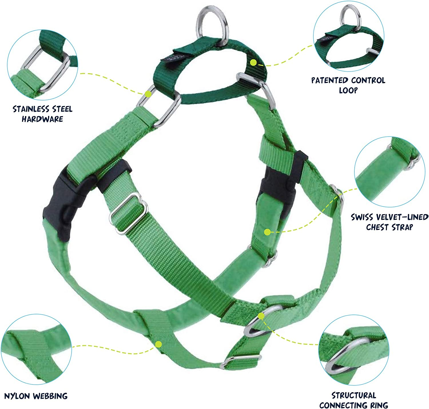 Black Medium 2 Hounds Design Freedom No-Pull No Leash Harness Only 1-Inch