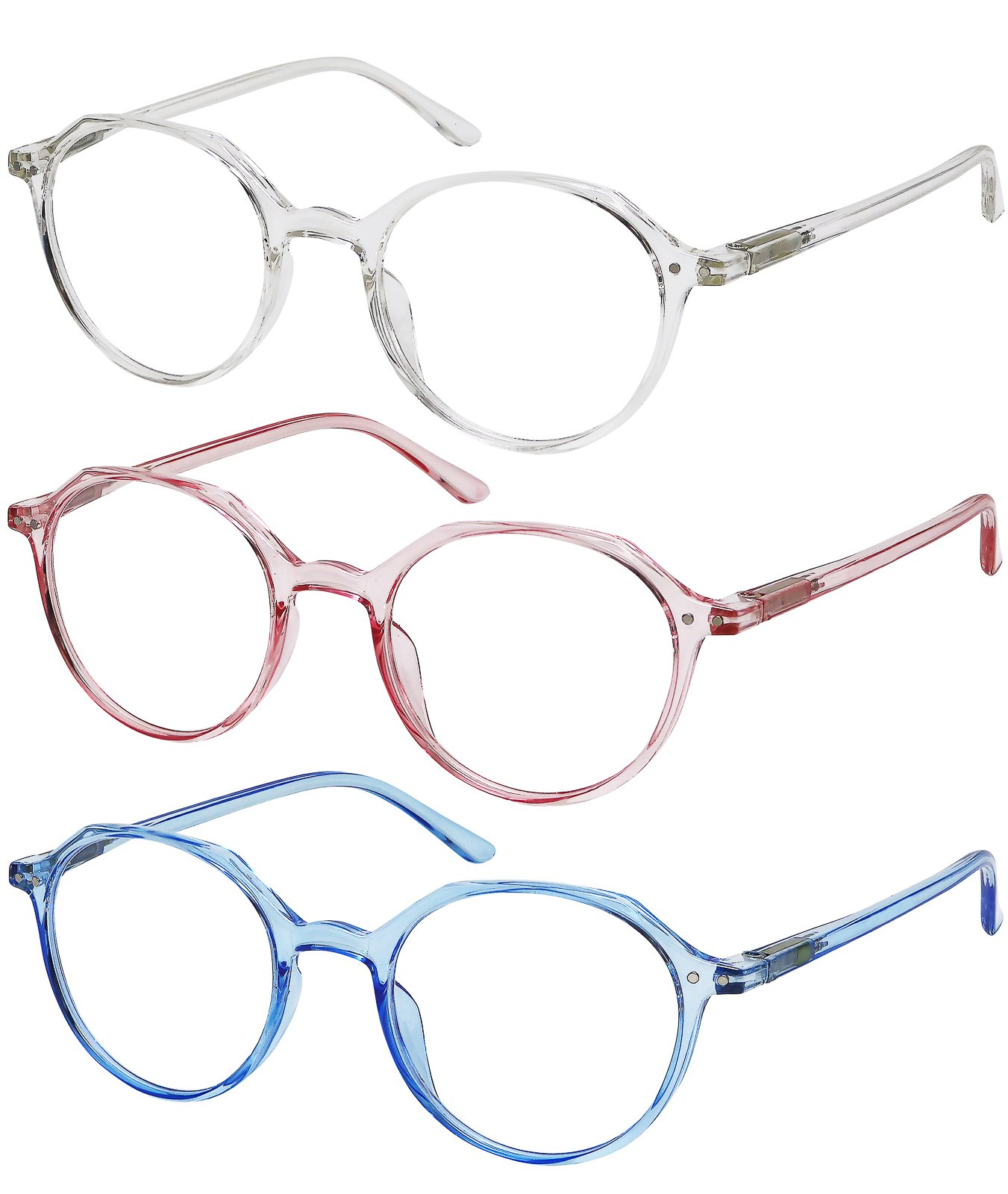 Reading Glasses 3 Pack Womens Fashion Readers Set of Crystal, Clear Pink, and Clear Blue +3.5 by Success Eyewear