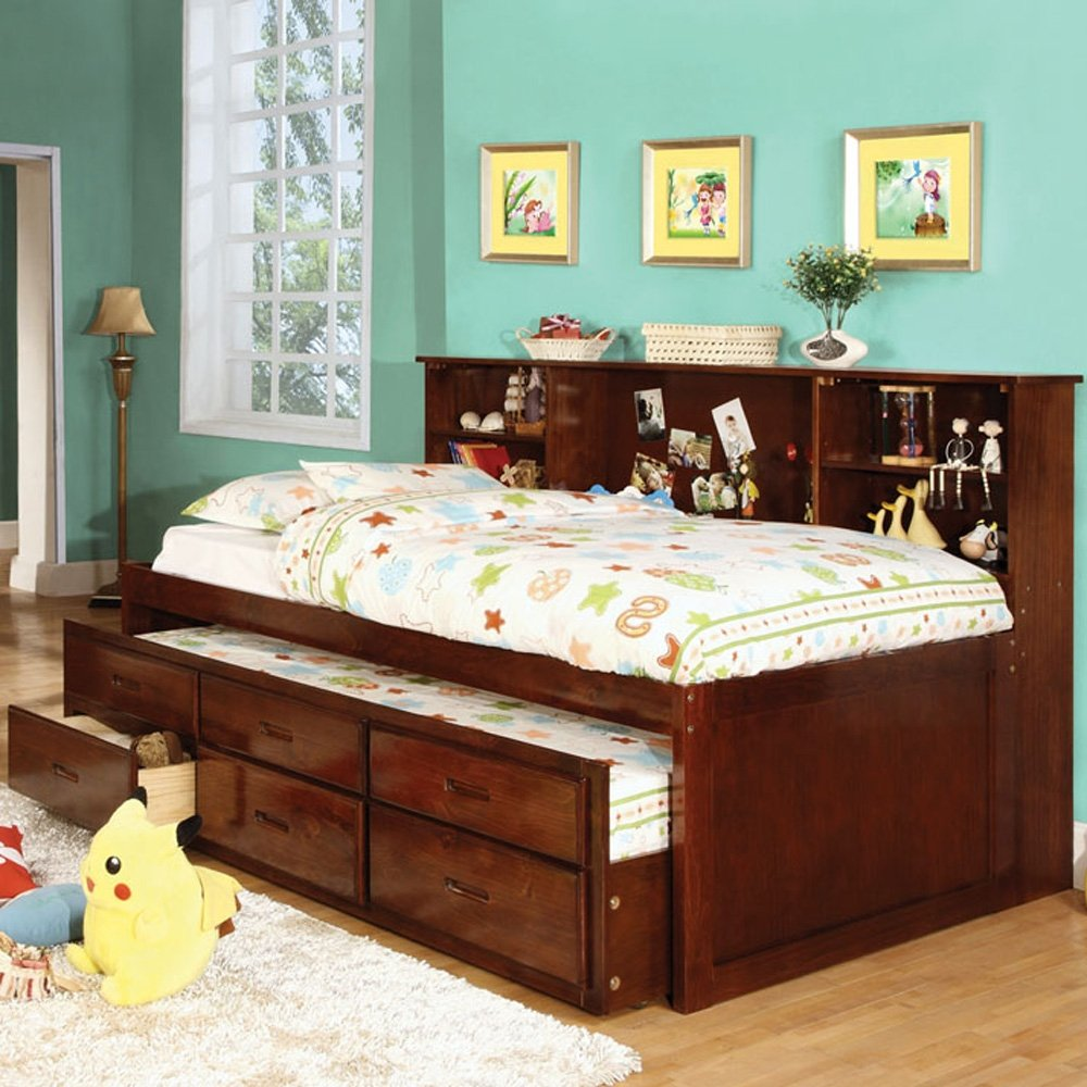 Amazon.com: Hardin Twin Size Bookcase Bed w/ Trundle and 3 Drawers: Kitchen  & Dining - Amazon.com: Hardin Twin Size Bookcase Bed W/ Trundle And 3 Drawers