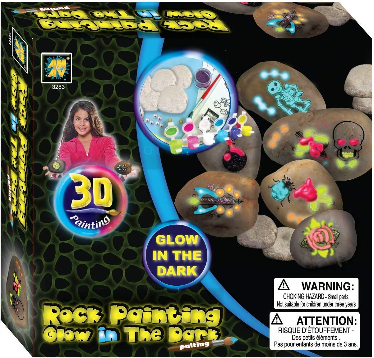 Non-Toxic Acrylic Painte Glow in The Dark Rock Painting Kit; Supplies Included