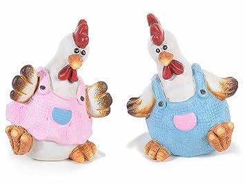 Ideapiu 8 Poule Decorative En Ceramique Coloree Amazon Fr Cuisine