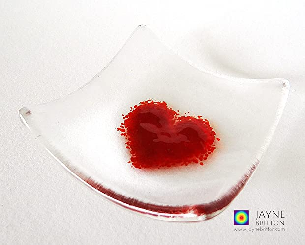 Heart Bowl Fused Glass Clear And Red Red Heart Gift Symbol Of