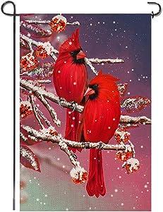 Shmbada Winter Red Cardinal Bird Burlap Garden Flag, Double Sided Seasonal Christmas Home Decor Outdoor Decorative Small Flags for Yard Lawn Patio Porch Farmhouse, 12 x 18 Inch