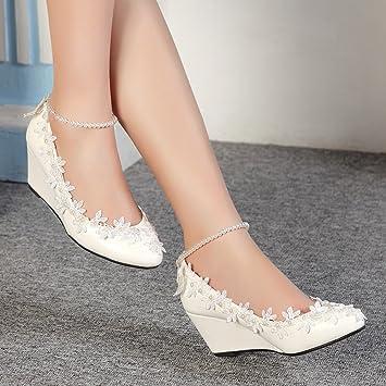30a74ed4 JINGXINSTORE Princesa Perlas Encaje Floral cuña Dama Zapatos de Novia Boda  Mujer Tacones Altos: Amazon.es: Deportes y aire libre
