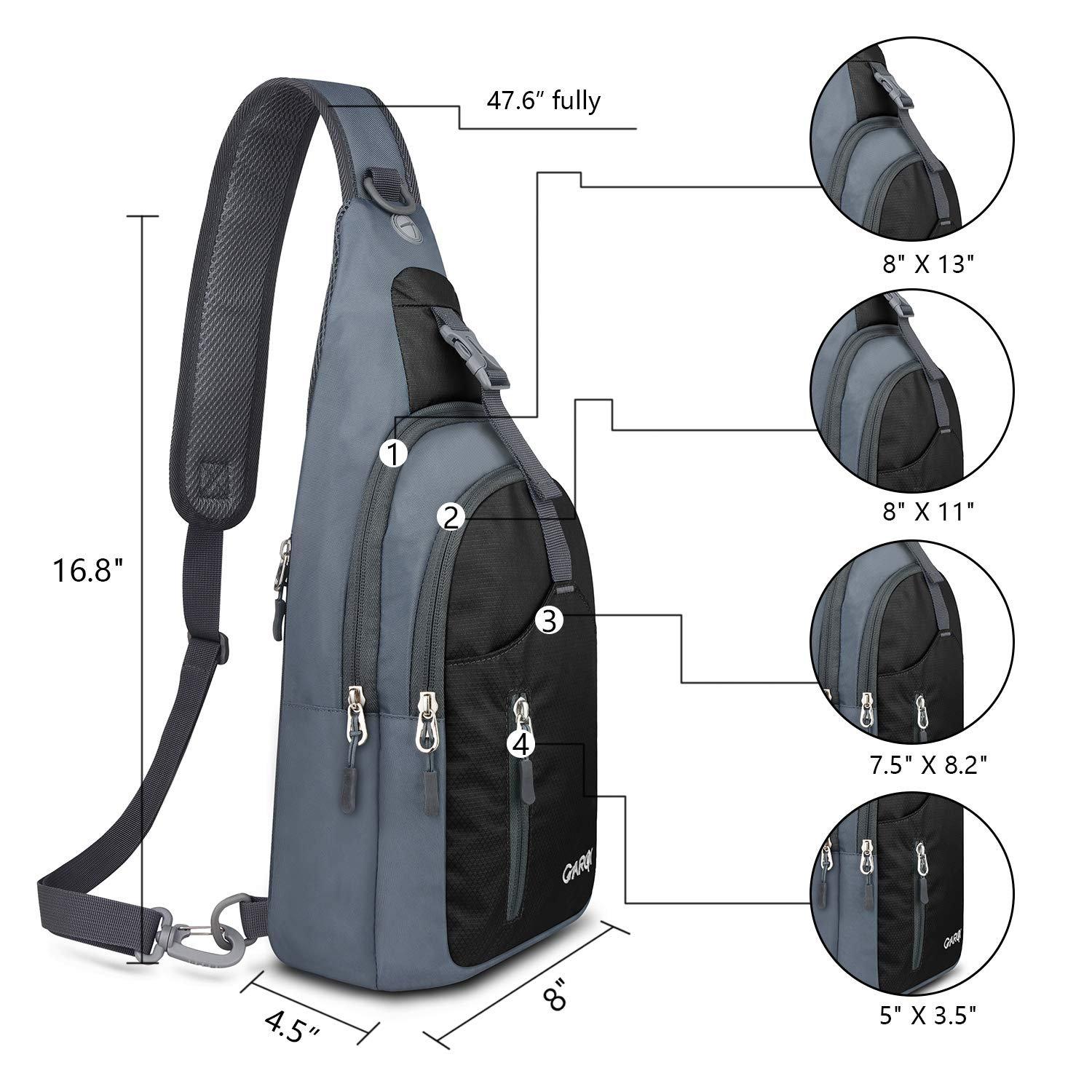 f84a351213db Amazon.com  CARQI Sling Bag Shoulder Backpack Crossbody Purse for Hiking  Camping  Clothing