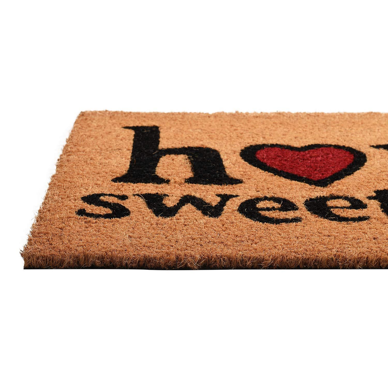 GAURI KOHLI Zerbino a Basso Profilo per Ingresso in Cocco Naturale per Patio Grandi Dimensioni: 18X 30 X 0.6 Porta dingresso; con Supporto in PVC Antiscivolo Resistente; Home Sweet Home